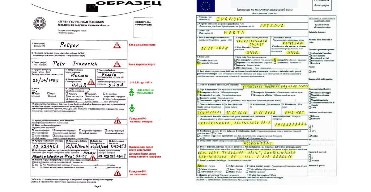 Анкеты для греческой визы