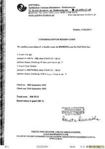 Документ, подтверждающий, бронирование места в гостинице Кракова