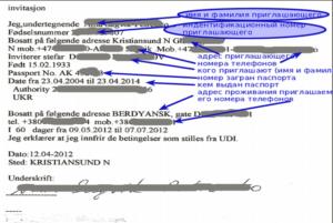 Образец приглашение на работу в Норвегию
