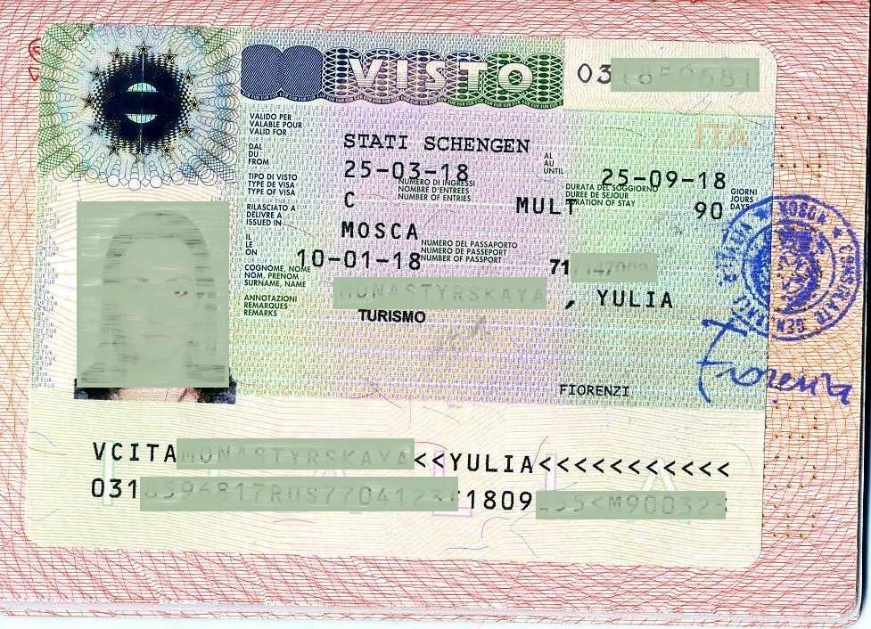 Шенгенская виза в Италию в паспорте