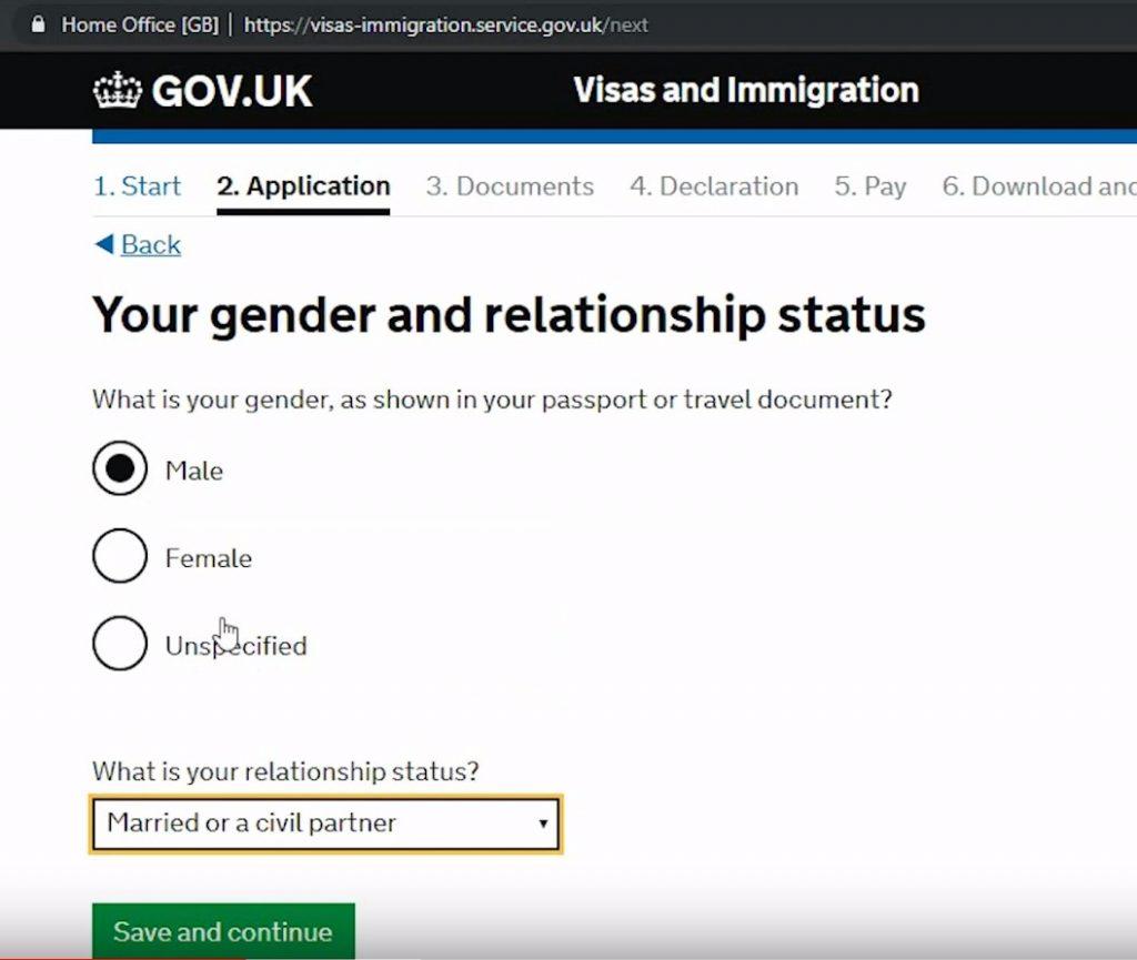 На следующем этапе указывается пол, семейное положение и гражданство
