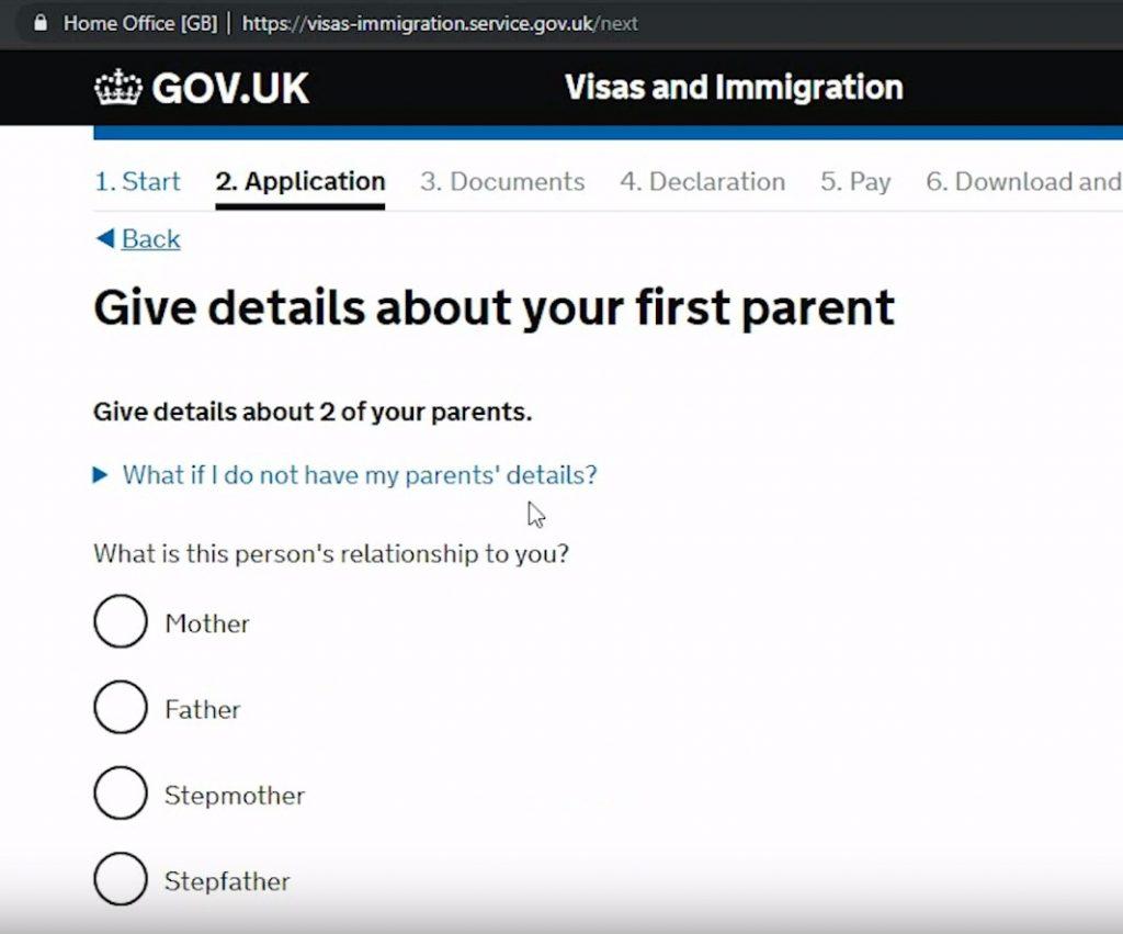 Нужно сообщить информацию по родителям