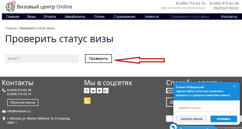 Отследить онлайн визу