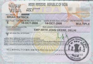 Рабочая виза в Индию.