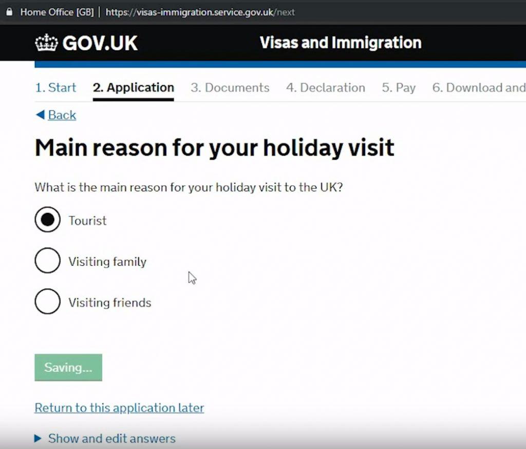 Указать цель посещения Великобритании