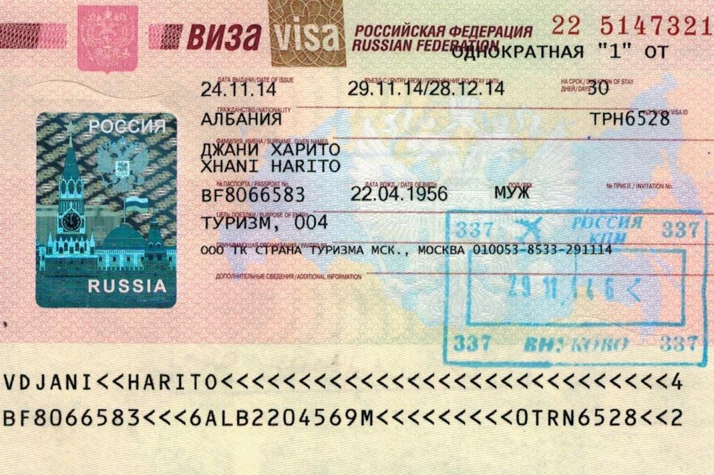 Пример туристической визы