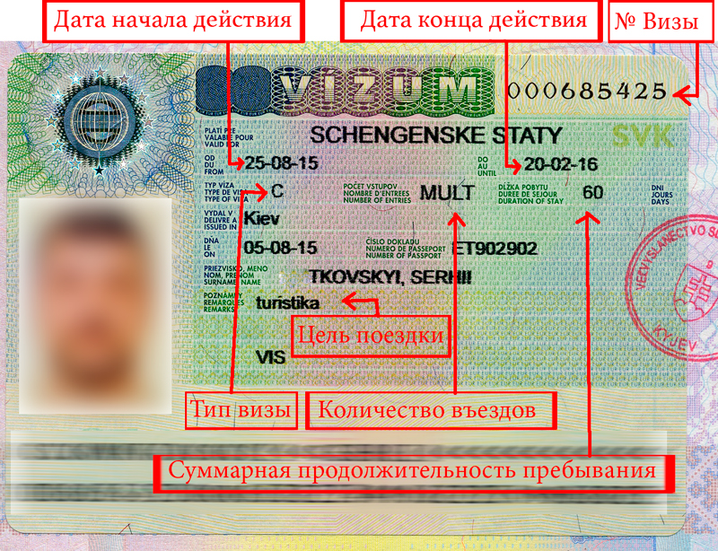 Внешний вид шенгенской визы