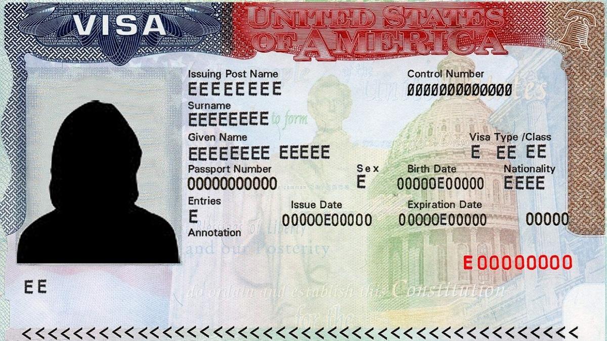 Образец визы в США