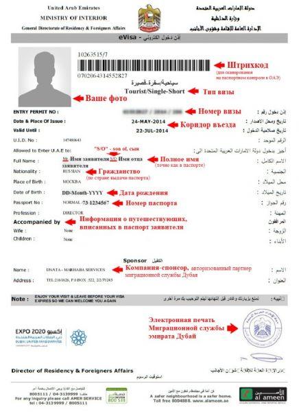 Образец заранее оформленной визы в ОАЭ