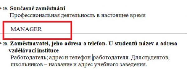 Анкета на визу в Чехию должность