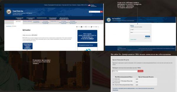 Регистрация на сайте Гос.Департамента США